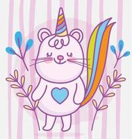 Kawaii little animal character with party hat vector