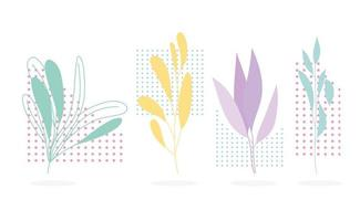 Set of colorful foliage with halftone shapes vector