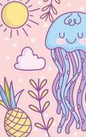 Kawaii blue jellyfish card or banner template