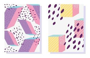 80's Memphis style abstract and geometric card template set vector