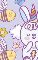 conejito kawaii con gorro de fiesta y abejas