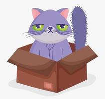 lindo gato aburrido en una caja caja de cartón vector