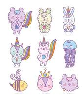 Cute kawaii animal set