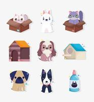 colección de pequeños animales y personajes de mascotas.