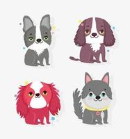 Cute little dogs icon pack vector