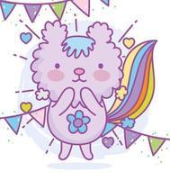 personagem animal kawaii com decoração de festa