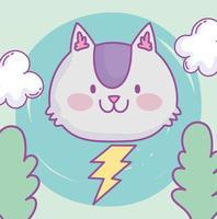 Kawaii little cat face with lightning bolt