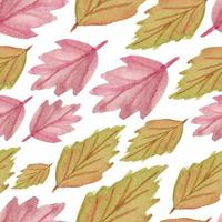 Watercolor seamless pattern with fall leaves vector