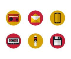 Mixed Flat Design Icons vector
