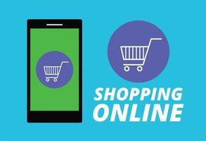 Shopping online on website with mobile vector