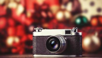 Retro camera on holidays background.