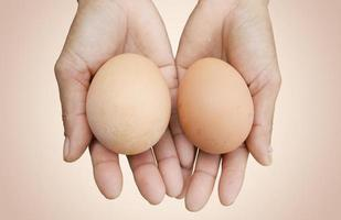 different size of brown egg holding on female farmer hands photo