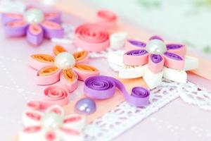 Closeup of pink quilling paper flowers