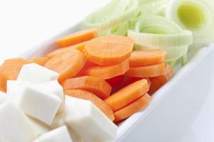 Sliced vegetables in bowl, close up photo