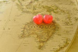 Sweet heart candy present love in old Australia map