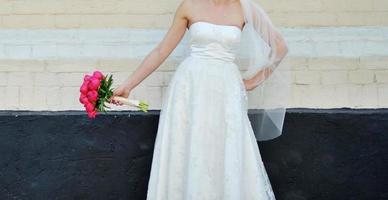 Gorgeous bride in beautiful dress. photo