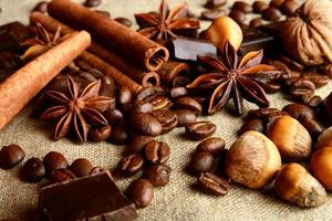 Aromatic assortment of chocolate,coffee,anise, and cinnamon on l photo