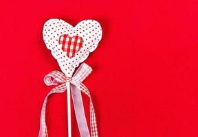 Valentines Beautiful Heart over Red Background with copyspace. photo