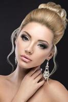 Portrait of a beautiful blond girl in image of the bride