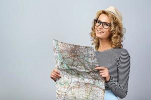 Travel concept for emotional young woman