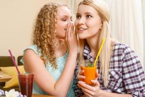 Girl telling secrets to her friend in cafe photo