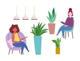 Women sitting on chairs with potted plants icon set