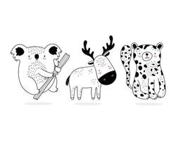 Assorted little wild animals sketch-style vector