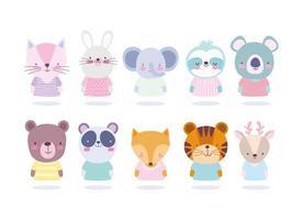 Cute animals portrait icon set vector
