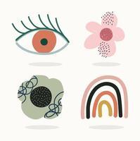 conjunto de ícones contemporâneos desenhados à mão