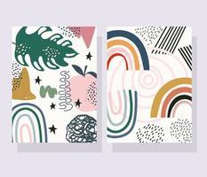 pacote de flores contemporâneas, frutas e banner e cartão de formas abstratas
