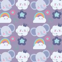 Little elephant faces with clouds pattern background vector