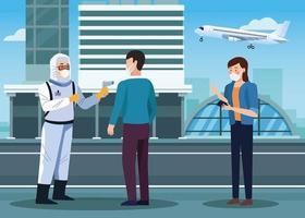 Trabajador de bioseguridad comprobando la temperatura en el aeropuerto para covid 19 vector