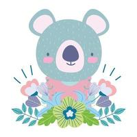 Cute koala with flowers and foliage vector