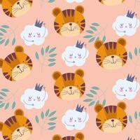 Little tiger faces with clouds and foliage pattern background vector