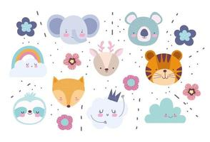 Little animal faces icon set with background vector