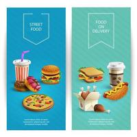 Vertical Delicious Fast Food Banners Set vector
