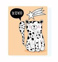 linda tarjeta de felicitación de estilo de dibujo de leopardo salvaje