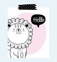 pequeño león con mensaje de saludo