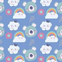 Pequeñas caras de koala con fondo de patrón de nubes