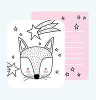 pequeña plantilla de tarjeta de dibujo de cara de zorro