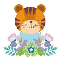 Cute tiger with flowers and foliage vector