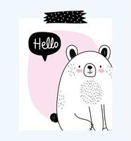 Bear with greeting message vector