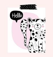 Little leopard with greeting message