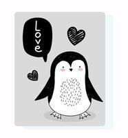 pequeño pingüino con mensaje de saludo vector