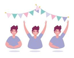 Young man party celebration icon set