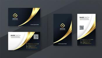 Golden Business Card Template Set vector
