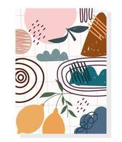 frutas contemporâneas e rabiscos desenhados à mão