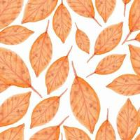 Seamless pattern with watercolor orange leaves