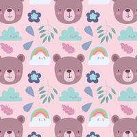 Little bear faces pattern background vector