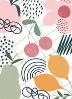 Contemporary fruits and flowers hand drawing